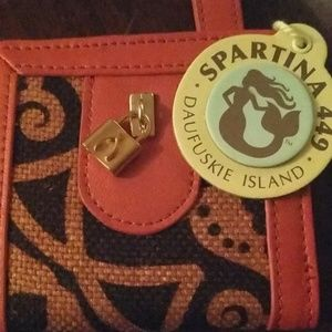 Spartina 449 Mini Charm Wallet Linen & Leather